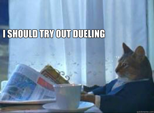I should try out dueling -   I should try out dueling  I should buy a boat cat