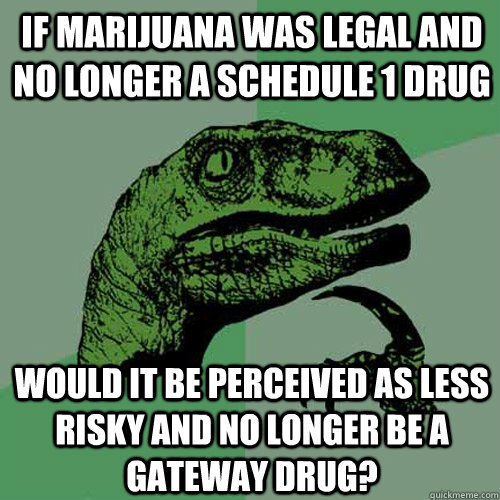 If Marijuana was legal and no longer a schedule 1 drug  would it be perceived as less risky and no longer be a gateway drug? - If Marijuana was legal and no longer a schedule 1 drug  would it be perceived as less risky and no longer be a gateway drug?  Philosoraptor