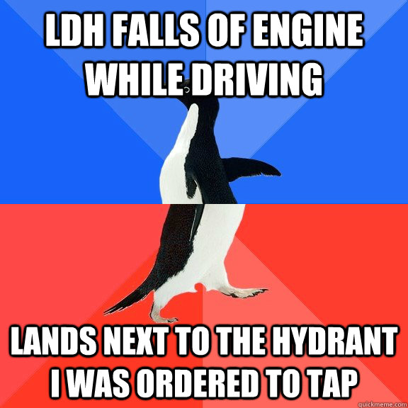 LDH falls of engine while driving lands next to the hydrant i was ordered to tap - LDH falls of engine while driving lands next to the hydrant i was ordered to tap  Socially Awkward Awesome Penguin
