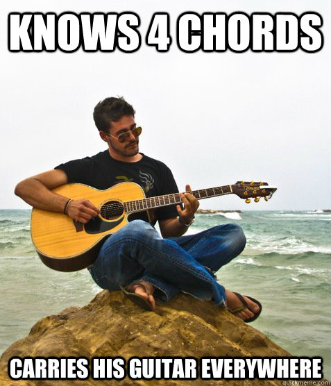 Knows 4 chords carries his guitar everywhere - Knows 4 chords carries his guitar everywhere  Douchebag Guitarist