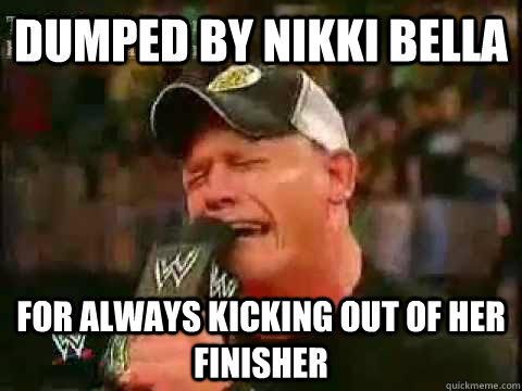 ecc70bfdeb1ff235bbce24fe16e08400b803e4dc8c847d368db071bd053a1279 dumped by nikki bella for always kicking out of her finisher