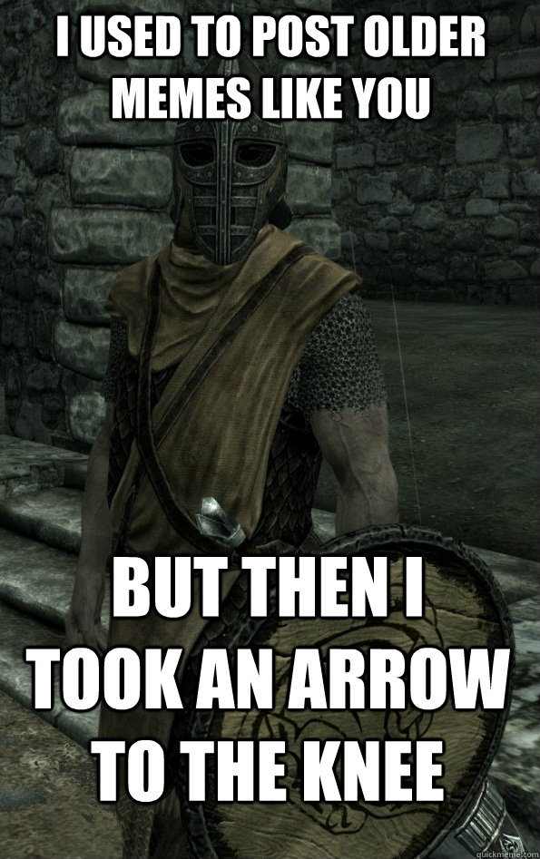 i used to post older memes like you but then i took an arrow to the knee
