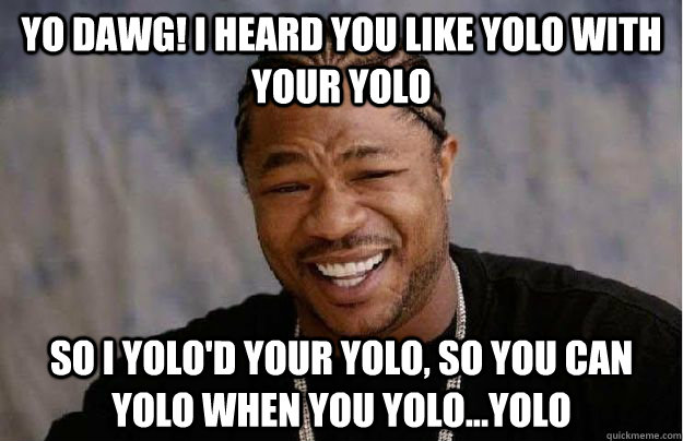 Yo Dawg! I heard you like YOLO with your YOLO So I yolo'd your yolo, so you can yolo when you yolo...yolo  Yo Dawg Hadoop