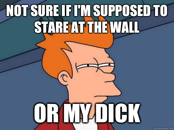 Not sure if I'm supposed to stare at the wall Or my dick - Not sure if I'm supposed to stare at the wall Or my dick  Futurama Fry
