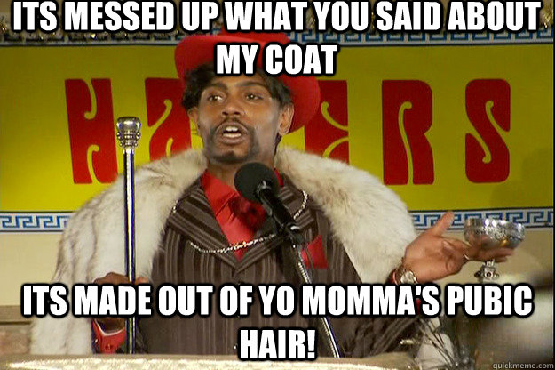 Its messed up what you said about my coat Its made out of yo momma's pubic hair!