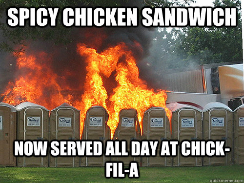Spicy Chicken Sandwich Now served all day at Chick-Fil-A - Spicy Chicken Sandwich Now served all day at Chick-Fil-A  Spicy Chicken Sandwich