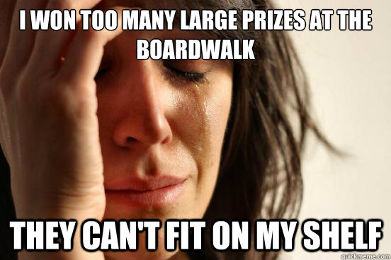 I won too many large prizes at the boardwalk They can't fit on my shelf - I won too many large prizes at the boardwalk They can't fit on my shelf  First World Problems