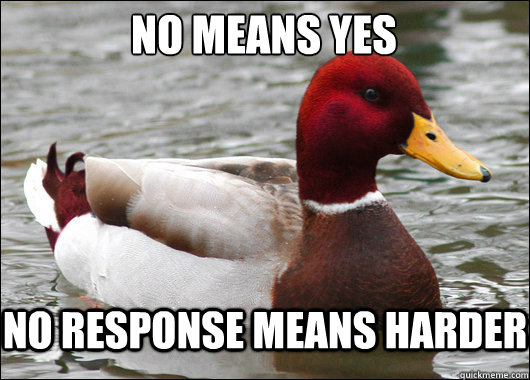 No means yes  No response means harder - No means yes  No response means harder  Malicious Advice Mallard