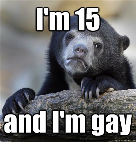 I'm 15 and I'm gay - I'm 15 and I'm gay  Confession Bear