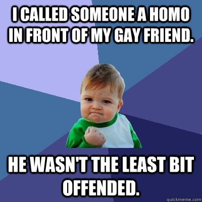 I called someone a homo in front of my gay friend. He wasn't the least bit offended. - I called someone a homo in front of my gay friend. He wasn't the least bit offended.  Success Kid