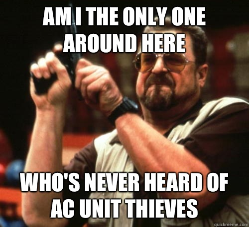 Am i the only one around here who's never heard of AC unit thieves - Am i the only one around here who's never heard of AC unit thieves  Am I The Only One Around Here