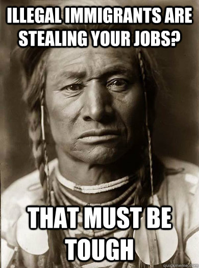 illegal immigrants are stealing your jobs? that must be tough - illegal immigrants are stealing your jobs? that must be tough  Unimpressed American Indian