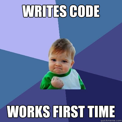 Writes code Works first time - Writes code Works first time  Success Kid