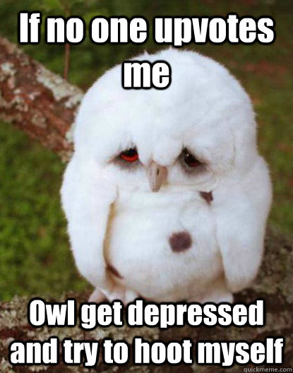 If no one upvotes me Owl get depressed and try to hoot myself
