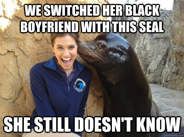 we switched her black boyfriend with this seal she still doesn't know - we switched her black boyfriend with this seal she still doesn't know  Crazy Secret