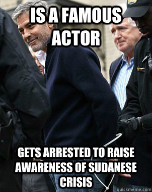 Is a Famous Actor Gets arrested to raise awareness of Sudanese crisis
