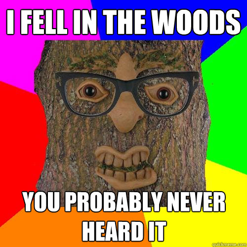 i fell in the woods you probably never heard it
