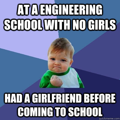 At a engineering school with no girls Had a girlfriend before coming to school - At a engineering school with no girls Had a girlfriend before coming to school  Success Kid