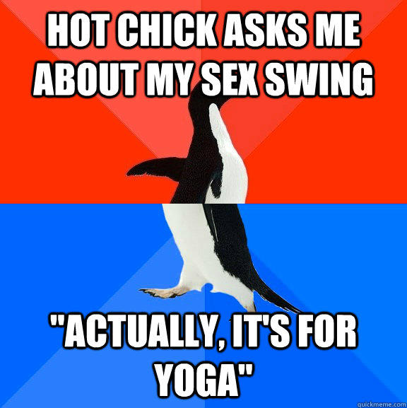 Hot chick asks me about my sex swing