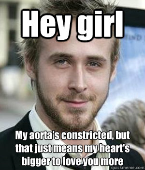 Hey girl My aorta's constricted, but that just means my heart's bigger to love you more  - Hey girl My aorta's constricted, but that just means my heart's bigger to love you more   Misc