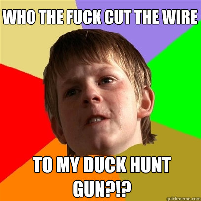 Who the fuck cut the wire to my duck hunt gun?!? - Who the fuck cut the wire to my duck hunt gun?!?  Angry School Boy