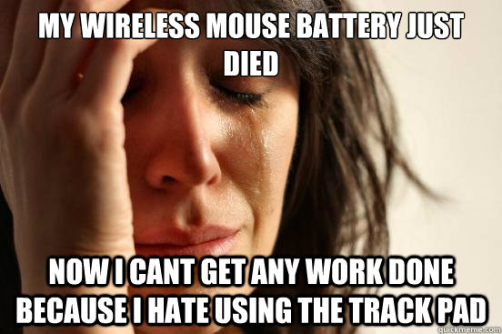 My wireless mouse battery just died Now i cant get any work done because i hate using the track pad - My wireless mouse battery just died Now i cant get any work done because i hate using the track pad  Misc