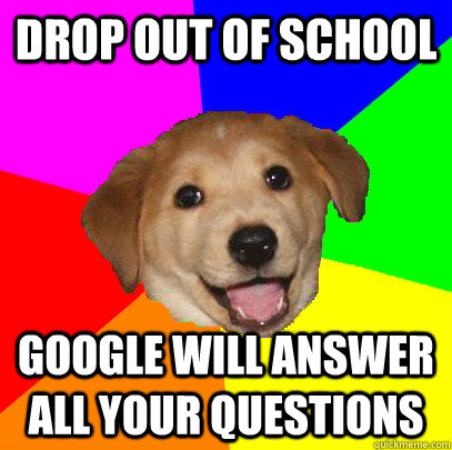drop out of school Google will answer all your questions - drop out of school Google will answer all your questions  Advice Dog