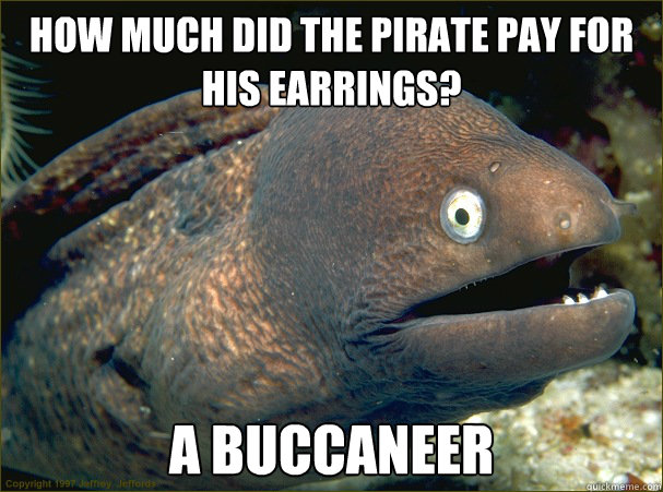 How much did the pirate pay for his earrings? A buccaneer - How much did the pirate pay for his earrings? A buccaneer  Bad Joke Eel