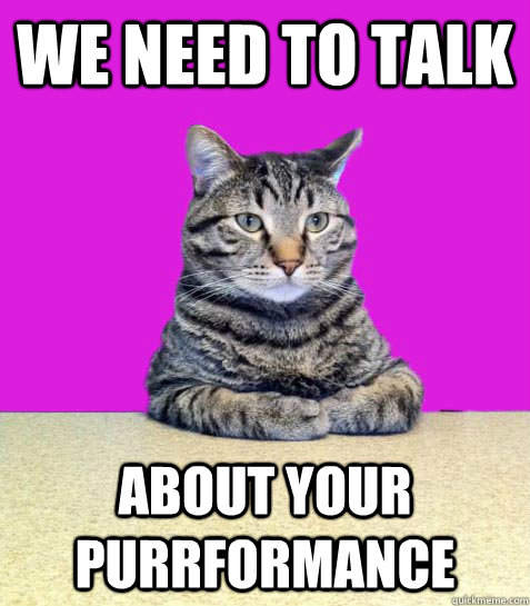 We need to talk About your purrformance