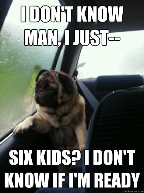 I don't know man, I just-- six kids? i don't know if i'm ready - I don't know man, I just-- six kids? i don't know if i'm ready  Introspective Pug