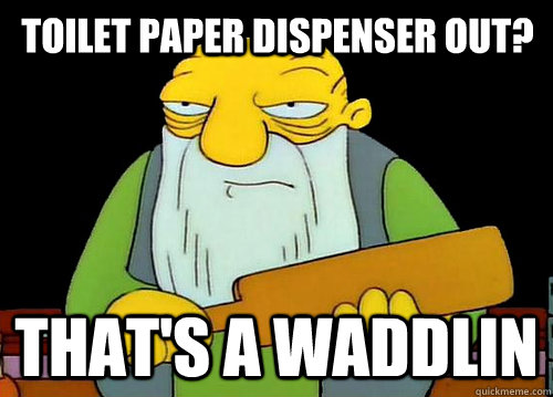 toilet paper dispenser out? that's a waddlin - toilet paper dispenser out? that's a waddlin  Thats a paddlin