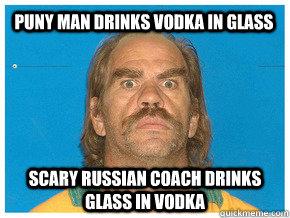 Puny man drinks vodka in glass Scary russian coach drinks glass in vodka