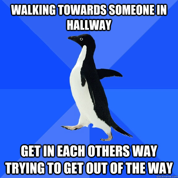 Walking towards someone in hallway get in each others way trying to get out of the way - Walking towards someone in hallway get in each others way trying to get out of the way  Socially Awkward Penguin