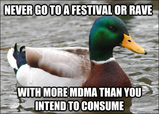 Never go to a festival or rave With more MDMA than you intend to consume - Never go to a festival or rave With more MDMA than you intend to consume  Actual Advice Mallard