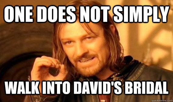 ee2362a8473f1d8e857ec7f2e81a4c7a7259d3481e0f574639cf542fe3586c31 one does not simply walk into david's bridal crussian meme,Meme Bridal