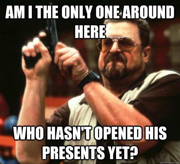 AM I THE ONLY ONE AROUND HERE WHO HASN'T OPENED HIS PRESENTS YET?