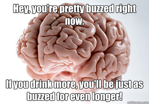 Hey, you're pretty buzzed right now. If you drink more, you'll be just as buzzed for even longer! - Hey, you're pretty buzzed right now. If you drink more, you'll be just as buzzed for even longer!  Scumbag Brain