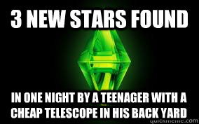 3 new stars found In one night by a teenager with a cheap telescope in his back yard