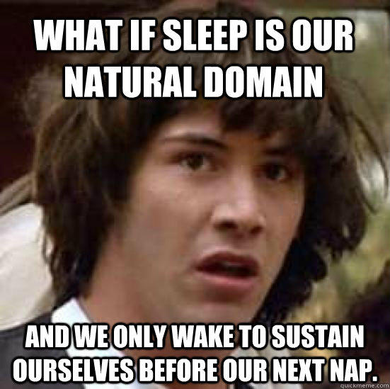 What if sleep is our natural domain and we only wake to sustain ourselves before our next nap. - What if sleep is our natural domain and we only wake to sustain ourselves before our next nap.  conspiracy keanu
