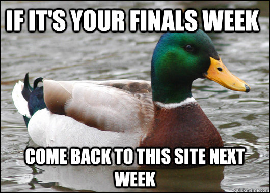 IF it's your Finals Week Come back to this site next week  - IF it's your Finals Week Come back to this site next week   Actual Advice Mallard