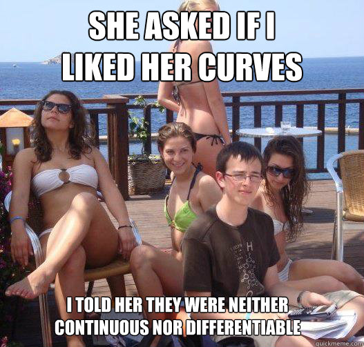 She asked if I liked her curves I told her they were neither continuous nor differentiable - She asked if I liked her curves I told her they were neither continuous nor differentiable  Priority Peter