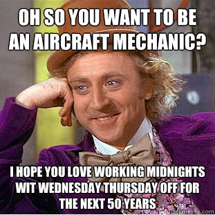 eeab892d8d878fd903e430e8acd7e6bfe7efb4584ef6ad7be20a0af2460e6bcf oh so you want to be an aircraft mechanic? i hope you love working,Airplane Mechanic Funny Memes