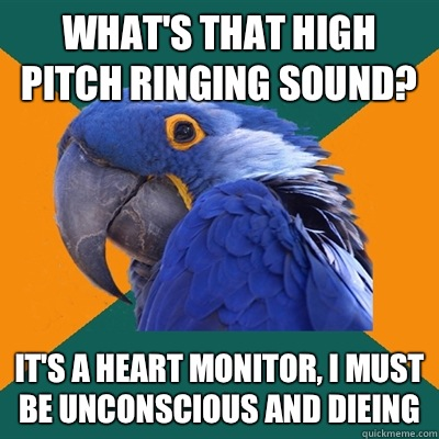 What's that high pitch ringing sound? It's a heart monitor, I must be unconscious and dieing  - What's that high pitch ringing sound? It's a heart monitor, I must be unconscious and dieing   Paranoid Parrot