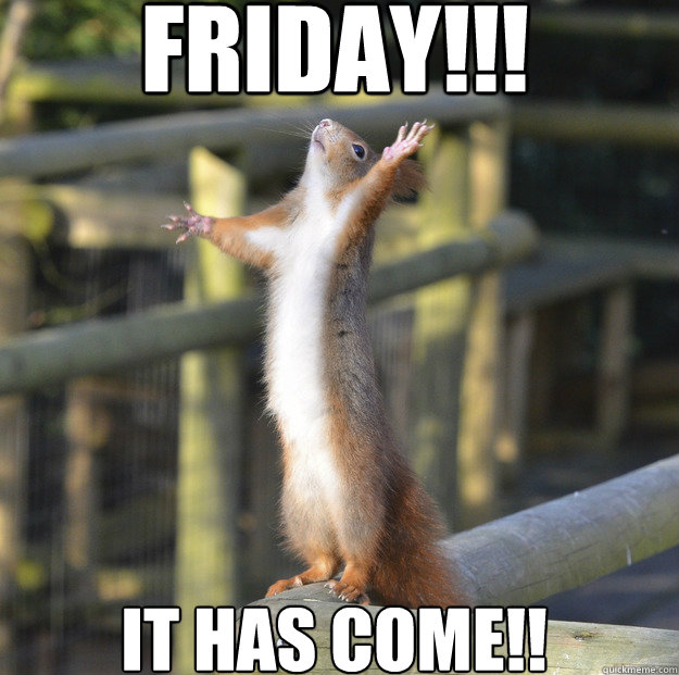 FRIDAY!!! IT HAS COME!!  friday