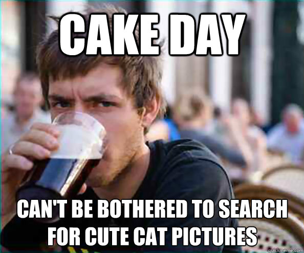 Cake day can't be bothered to search  for cute cat pictures - Cake day can't be bothered to search  for cute cat pictures  Lazy College Senior