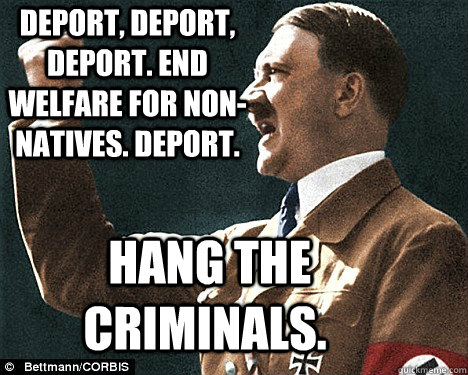 Deport, deport, deport. End welfare for non-natives. Deport.  Hang the criminals.