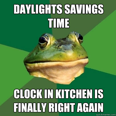 Daylights Savings Time Clock in kitchen is finally right again - Daylights Savings Time Clock in kitchen is finally right again  Foul Bachelor Frog