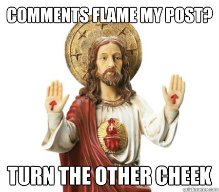 comments flame my post? turn the other cheek - comments flame my post? turn the other cheek