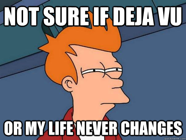 Not sure if deja vu Or my life never changes - Not sure if deja vu Or my life never changes  Futurama Fry