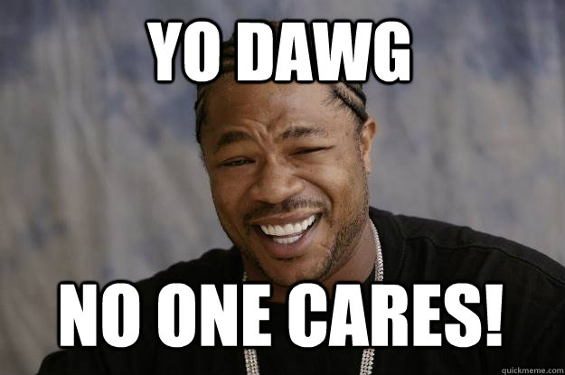 YO DAWG NO ONE CARES!  Xzibit meme